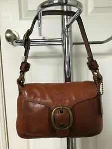 COACH SMALL BROWN LEATHER TATTERSALL BLEECKER PURSE IN VERY GOOD CONDITION LOOK!