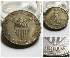 1906 US-Philippines Shield 1 Peso Silver Crown Original Hosting ALTERED Chopmark