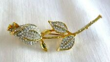 Dazzling White Crystals Gold Plated Gorgeous Jeweled Rose Bud Pin/Brooch