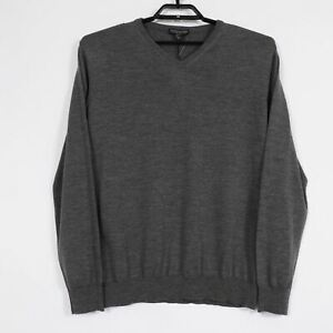 NEW Paolo Mondo Mens XL Gray Extra Fine Merino Wool V-Neck Pullover Sweater W144