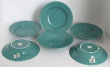 6 Stk Keramik Ess Speise Teller Tief Rastal Corona Edition RAR Grün Geschirr