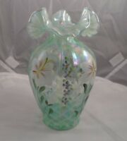 "Fenton Glass Sea Mist Green Opalescent Iridescent ""Lily & Flox"" Vase Signed"