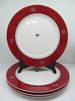 """Arcoroc France Rubis Snowflake 10 3/4"""" Dinner Plates Set Of 4 Plates   Excellent"""