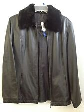 OUTBROOK Black Leather Jacket (removable faux fur Collar) Women's SMALL NWT