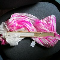 New Belly Dance 100% Silk Fan Veil - Ship from USA - Solid White & Tie Dye Pink