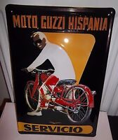 "MOTO GUZZI HISPANIA SERVICIO, EMBOSSED(3D) VINTAGE-STYLE SIGN, 12""x 8"" 30x20cm,"
