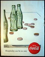 "Print Ad 1952, Coke Coca-Cola Bottles Bottle Caps Hospitality 9.5""x12.5"" Ex Cond"