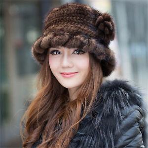 100% Genuine Knitted Mink Fur Hat Winter Women Cap Headgear Tuque Beanie Hats