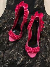 Holly Willoughby Pink Satin Frilled Platform High Heel Shoes UK 5