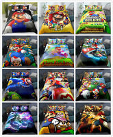 3D Super Mario Bros.Bedding Set Mario Bowser Yoshi Kids Duvet Cover Pillowcase