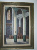 """Original Oil Painting Gothic Church 33' x 45"""" FRAMED signed by Heyer Listed"""
