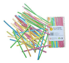Twist Ties GINGHAM Pack 50 5 Colours Party Wedding Cone Bags 10cm