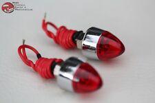 Red Mini LED Bullet License Plate Frame Tag Fastener Bolts Chopper Bobber Pair
