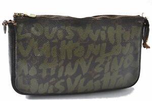 Louis Vuitton Monogram Graffiti Pochette Accessoires Pouch Green M92191 LV D5182