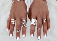 8pcs Fashion Punk Vintage Ring Womens Retro Silver Finger Rings Set Boho Style