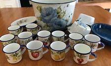 Vintage Blue White Enamel Bucket/Pail w/2 Ladles, 12 Cups & Trays BEAUTIFUL SET!