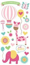 Scrapbooking Crafts Puffy Stickers Paper House Welcome Baby Girl Balloon Giraffe