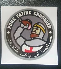 PORK EATING CRUSADER CAR VEHICLE WINDOW DECAL STICKER