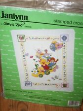 "Janlynn Suzy's Zoo Train Quilt Stamped Cross Stitch Kit  Baby  SEALED  34"" x43"""