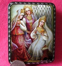 Russian small GICLEE Lacquer Box The Tale of Silver Saucer and Russet Apple GIFT