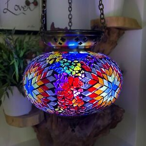 Crushed Glass Large Turkish Moroccan Mosaic Hanging Candle Holder Hand Made Lamp