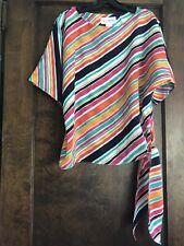 True Vintage 1970s La Chemise Bold Striped Kimono Sleeves Tie Waist Blouse S
