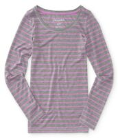 AEROPOSTALE WOMENS LONG SLEEVE BASIC T-SHIRT WIDE NECK CREW THIN STRIPED