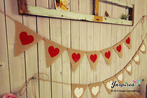 LOVE HEART Bunting Hessian Banner Pastel Rustic Wedding Decor Home warming