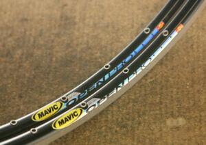 Vintage NOS NEW set (2) Mavic Open Pro black clincher rims rimset velgen 28 hole