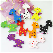 8Pcs Mixed Craft Wood Wooden Animal Giraffe Charms Pendants 34x48mm