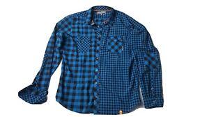 Ortovox Herren Hemd Outdoor Shirt Merino Wool BlueBlack XXL wie NEU Karo Patches