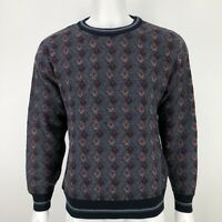 Vintage Jantzen Mens Large Sweater Red Blue Print Knit Grandpa Pullover 90's L