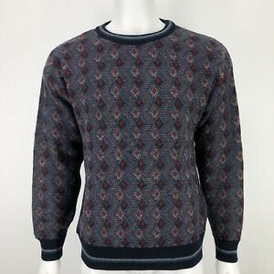 Vintage Jantzen Mens Large Sweater Red Blue Print Knit Grandpa Pullover 90's L