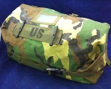 "USGI Chemical Suit Storage Bag Woodland Camo Compression Sack Servicable 9x21"""