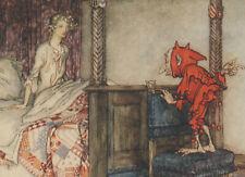 Lady Bed Goblin Pixie Imp British Ballads Arthur Rackham 1919 Tipped-In Print