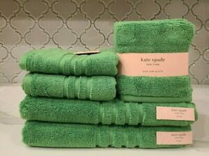 NWT KATE SPADE NEW YORK Bath Towels~Green~8Pc Set~2 Bath/2 Hand/4 Wash Cloths