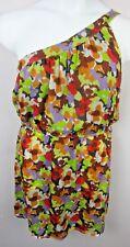 CHARLIE JADE Woman's Dress One Shoulder w Pockets Silk Multi Color Medium