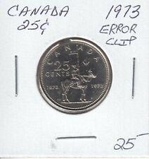CANADA 25 CENTS 1973 ERROR CLIP