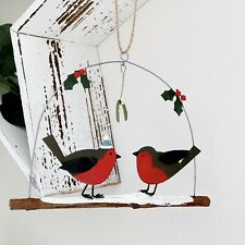 Festive Robins On A Branch Mistletoe Christmas Hanging Decoration Hand Painted