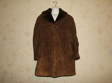 Vintage Brown Leather & Lambwool Collar Button Hip Length Coat Jacket Size 27