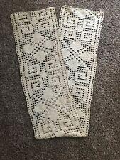 "New listing Vintage Hand Crocheted 74"" Heavy beige Table Runner"