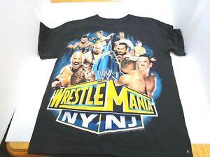Wrestlemania NY NJ Black Youth T Shirt Large 10/12 John Cena The Rock Seamus