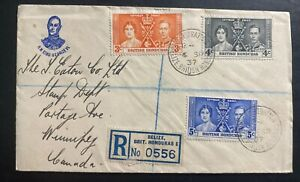 1937 Belize British Honduras first day cover Coronation King George VI To Canada