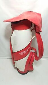 Vintage Wilson White/ Red Golf Bag Made In The USA 15 Way Divider W Rain Cover