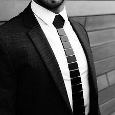 New Hex Tux Tie Men's Lines Black Gloss Luxury Gift Tie Free Shipping UK Stock