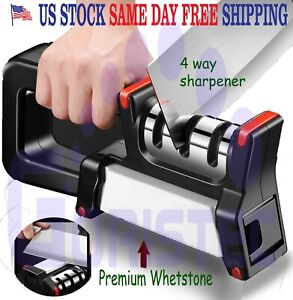 3 Stages + Whetstone Knife Sharpener 4 in one Professional  Scissor Tool System