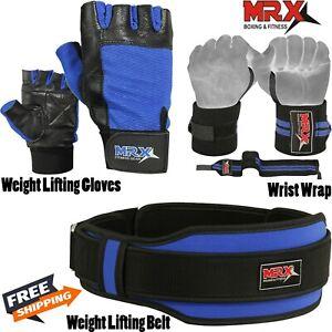 Weight Lifting Belt Gym Training Workout Gloves Wrist Wraps Blue Set Men Women