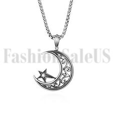Men Women Star and Crescent Moon Silver Tone Stainless Steel Pendant Necklace