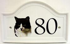 BLACK & WHITE Cat House Numero Porta Placca in ceramica Cat House Sign QUALSIASI NUMERO