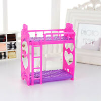 EG_ DOLL HOUSE MINIATURE PLASTIC BED DOUBLE-DECK FURNITURE FOR BARBIE DOLL FADDI